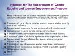 indicators for the achievement of gender equality and women empowerment program