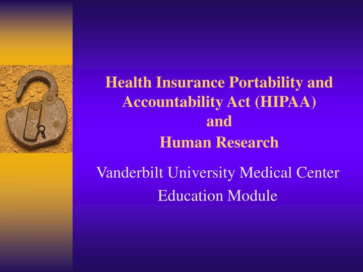 health insurance portability and accountability act hipaa and human research n.