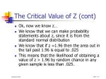 the critical value of z cont