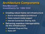 architecture components key microsoft investments for 1999 2000