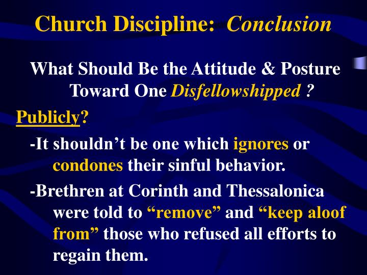 church discipline conclusion n.