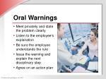 oral warnings