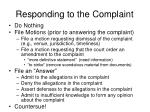 responding to the complaint
