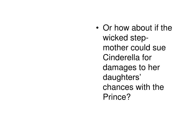 Or how about if the wicked step-mother could sue Cinderella for damages to her daughters' chances ...