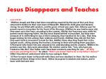 jesus disappears and teaches