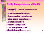 skills competencies of the pm