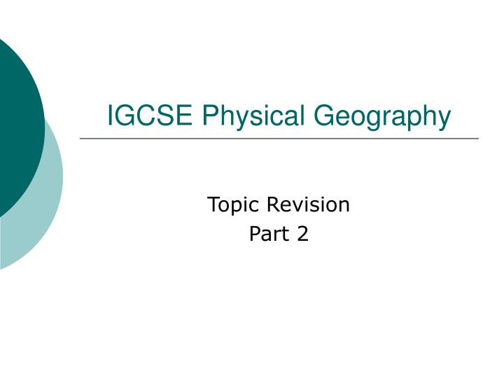 igcse physical geography n.