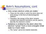 bohr s assumptions cont