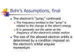 bohr s assumptions final