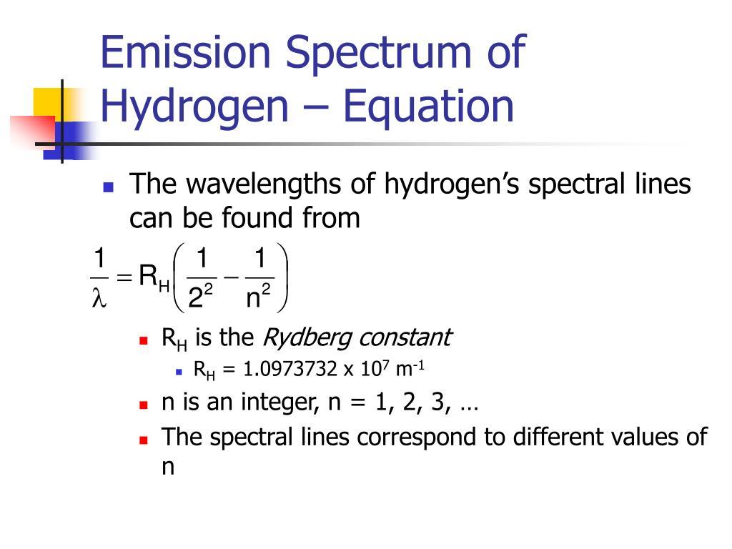 Emission Spectrum of Hydrogen – Equation