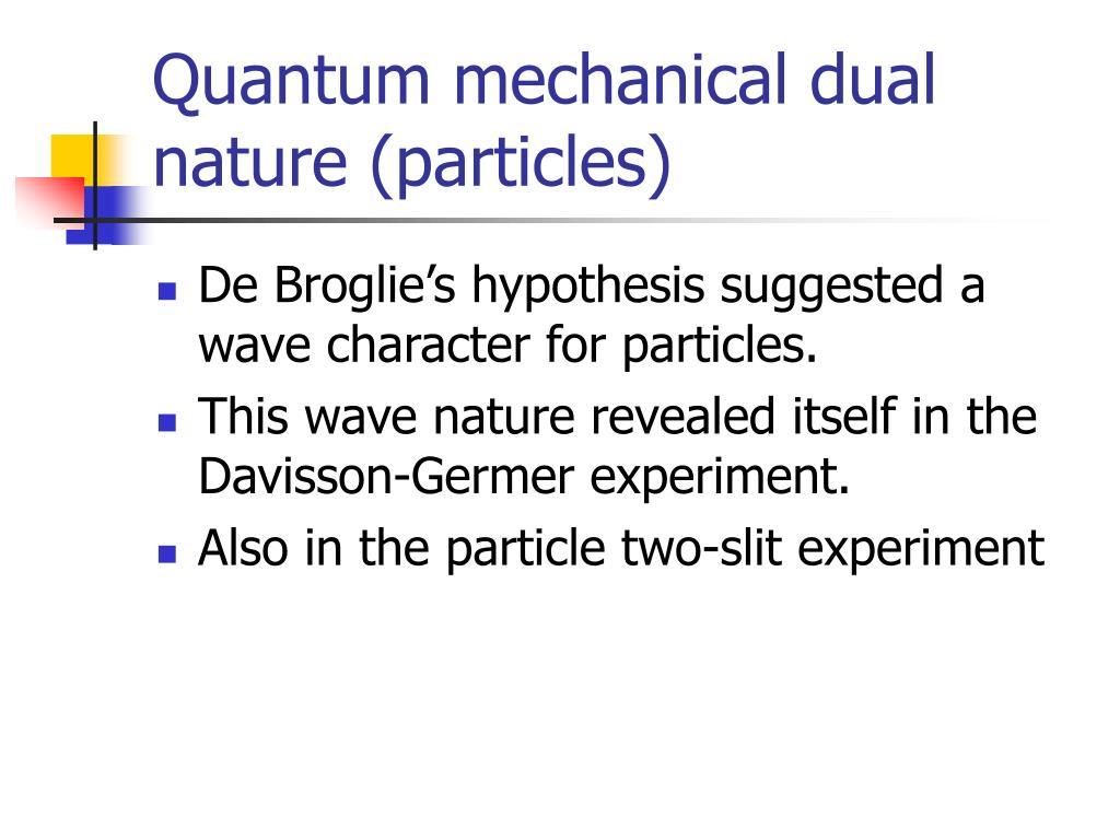 Quantum mechanical dual nature (particles)