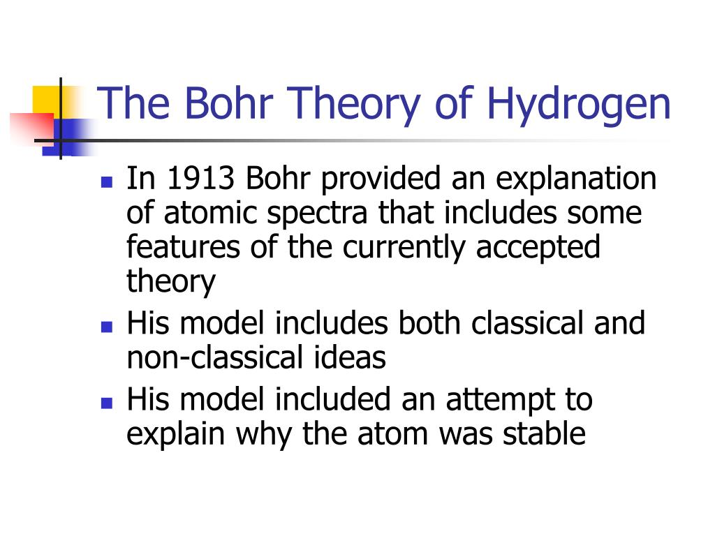 The Bohr Theory of Hydrogen