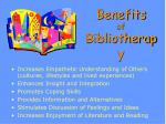 benefits of bibliotherapy