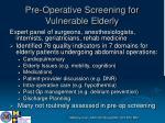 pre operative screening for vulnerable elderly