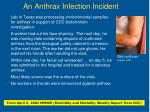 an anthrax infection incident