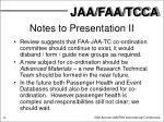notes to presentation ii