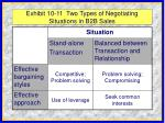 exhibit 10 11 two types of negotiating situations in b2b sales
