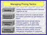 managing pricing tactics