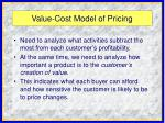 value cost model of pricing