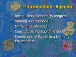 i introduction agenda