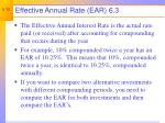 effective annual rate ear 6 3