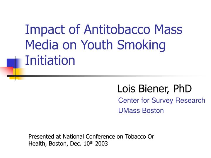 impact of antitobacco mass media on youth smoking initiation n.