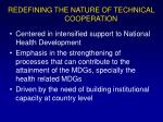 redefining the nature of technical cooperation