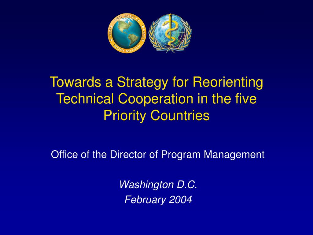 towards a strategy for reorienting technical cooperation in the five priority countries l.