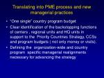 translating into pme process and new managerial practices19