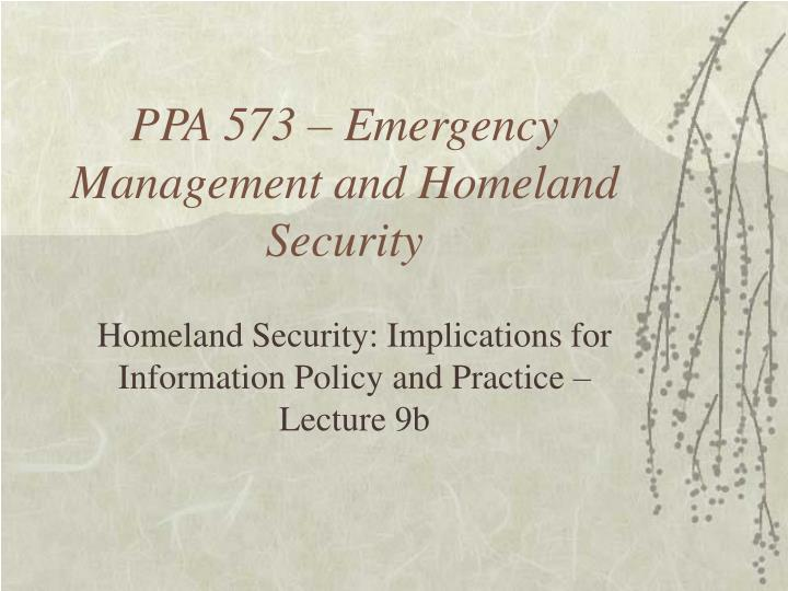 ppa 573 emergency management and homeland security n.