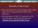 benefits of the canal