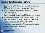 access to information in dsfs
