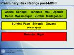 preliminary risk ratings post mdri