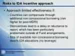 risks to ida incentive approach