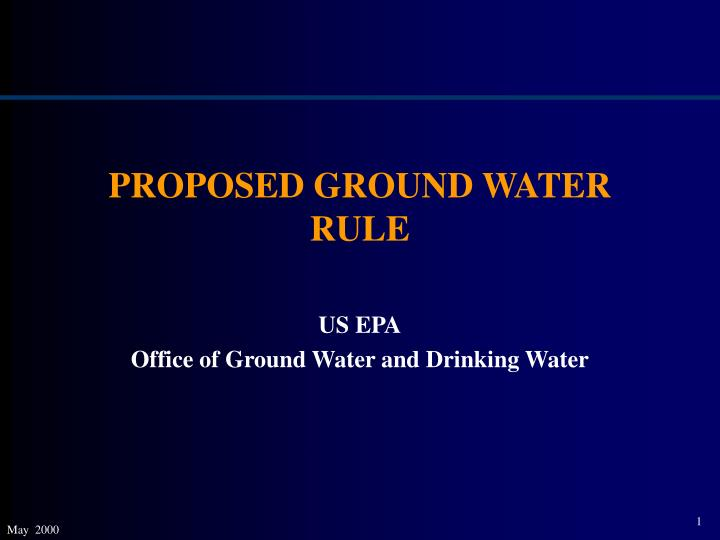 proposed ground water rule n.