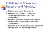 collaborative community research and advocacy