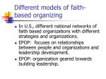 different models of faith based organizing