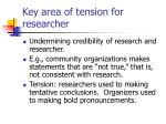 key area of tension for researcher