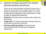 determine the likely reason s for the student s depressed academic performance