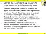 estimate the academic skill gap between the target student and typically performing peers