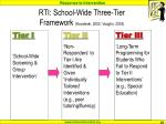 rti school wide three tier framework kovaleski 2003 vaughn 2003