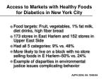 access to markets with healthy foods for diabetics in new york city
