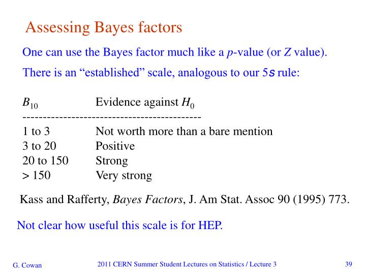 Assessing Bayes factors
