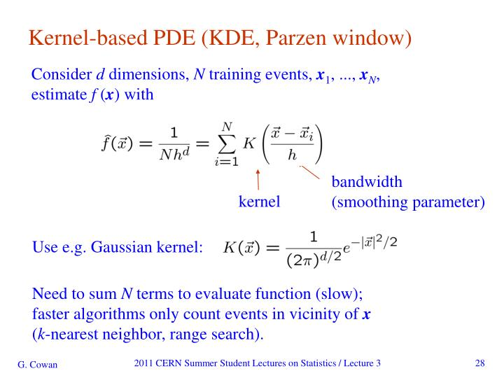 Kernel-based PDE (KDE, Parzen window)