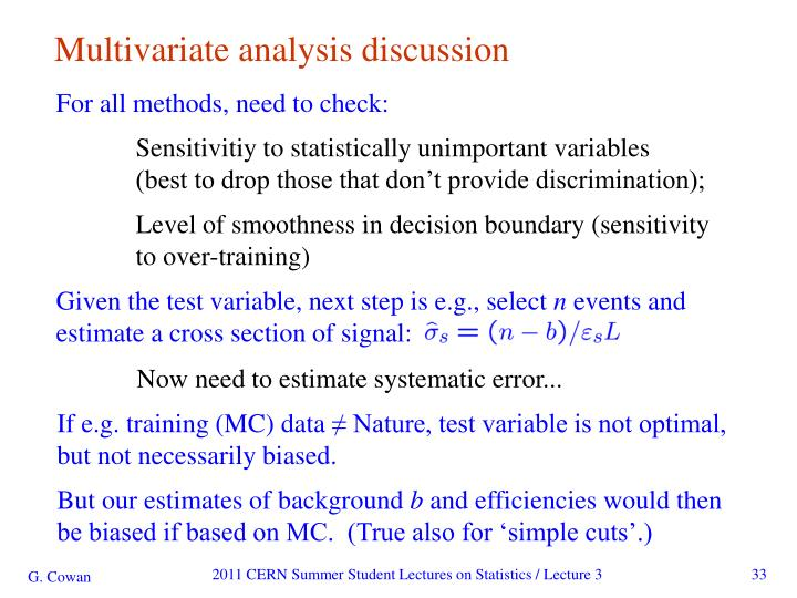 Multivariate analysis discussion