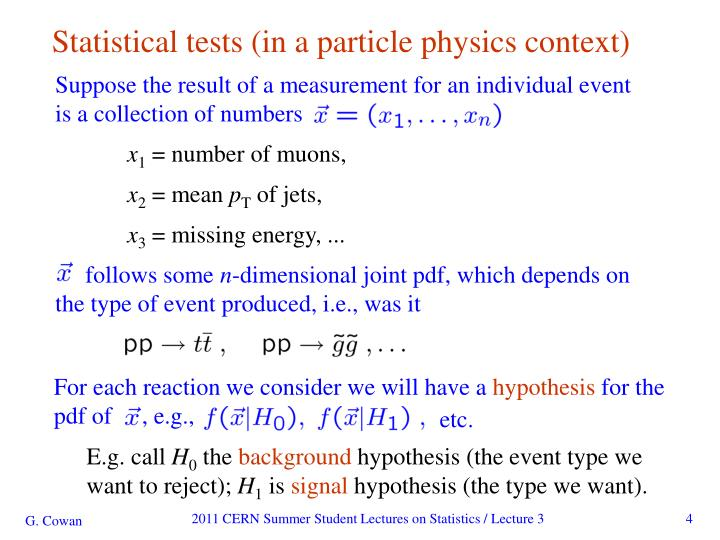 Statistical tests (in a particle physics context)