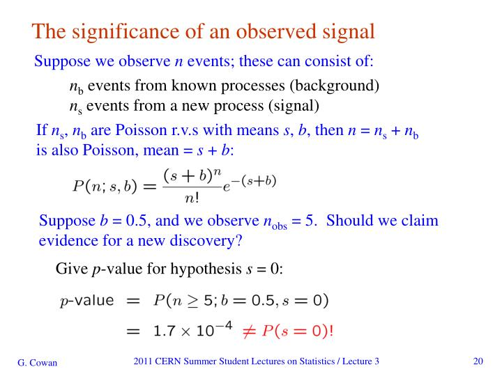 The significance of an observed signal
