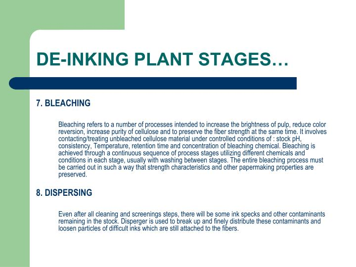 DE-INKING PLANT STAGES…