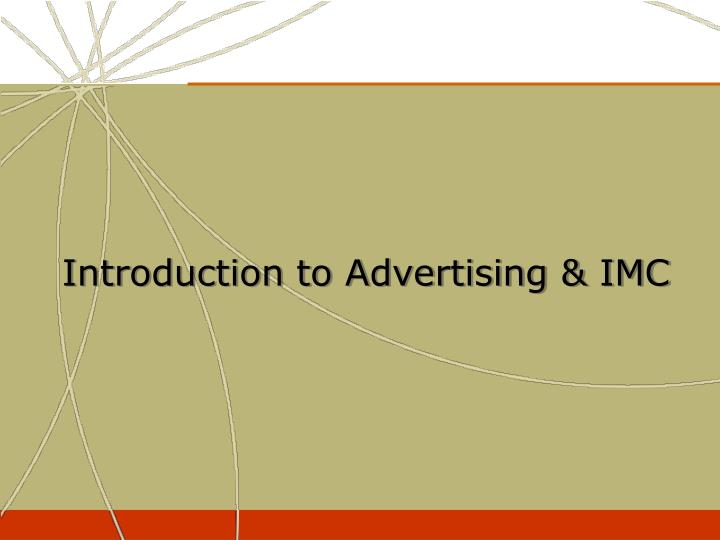 introduction to advertising imc n.