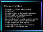 reprisal prevention